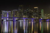 Miami skyline by night — Stock Photo