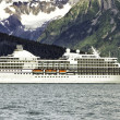Stock Photo: Cruise ship leaving Seward