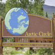 Arctic Circle road sign in Alaska — Stock Photo