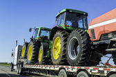 Oversize truck with tractors — Stock Photo