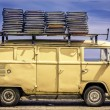 Vintage van in the beach of Ipanema — Stock Photo