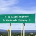 Alaska highway sign — Stock Photo