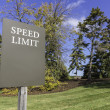 Speed limit street sign on fall background — Stock Photo
