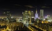 Warsaw downtown at night — Stock Photo