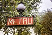 Segno della metropolitana di Parigi-Francia — Foto Stock