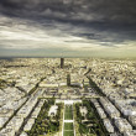 Dark clouds above Paris — Stock Photo #35453317