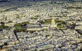 Paris aerial view with Church Saint-Louis des Invalides — Stockfoto