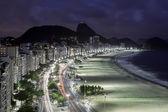 Copacabana Beach after dusk — Stockfoto