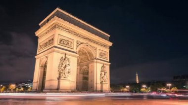 Paris Arc de Triumph night traffic Timelapse — Stock Video