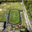 Football field aerial view — Stock Photo