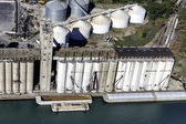 Silos aerial view in industrial zone — Stock Photo