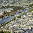 Stock Photo: Aerial view of Paris with Seine River