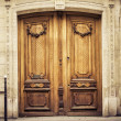 Old wooden arch entry door — Stock Photo