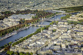 Aerial view of Paris with Seine River — Stok fotoğraf