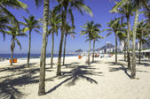Copacabana beach with palms in Rio de Janeiro — Stock Photo