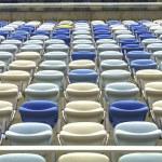 Empty color stadium seating at Maracana football stadium in Rio de Janeiro,Brazil — Stock Photo #43082921