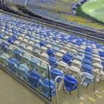 Empty color stadium seating at Maracana football stadium in Rio de Janeiro,Brazil — Stock Photo #43082999