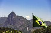 コルコバードのキリスト像リオデジャネイロ、ブラジルでブラジル国旗に対して — ストック写真