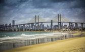 City of Natal beach with Navarro Bridge, Brazil — Stock Photo