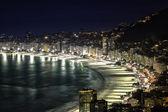 Copacabana Beach at night in Rio de Janeiro, Brazil — Stock Photo