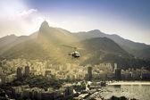 Helicopter flying above Rio de Janeiro Brazil. — Stock Photo