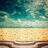 Rainy day on empty Copacabana Beach, Rio de Janeiro — Stock Photo