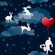 Rabbits in night sky — Wektor stockowy #12811189
