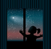 Child behind the window is watching the comet — Stock Vector