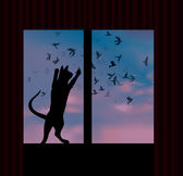 Cat catches a bird behind the window — Stock Vector