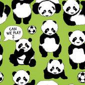Panda wants to play football — Stockvektor