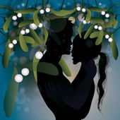 Kiss under mistletoe — Stock Vector