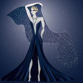 Blue enchanting evening dress — Stock Vector