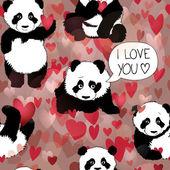 Cute Panda falls in love — Stock Vector