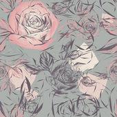 花とビンテージ壁紙 — ストックベクタ