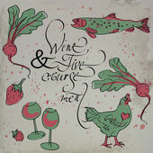 Five-course meal & Wine — Wektor stockowy