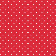 Stock Vector: Red background retro seamless vector pattern with white polkdots
