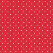 Red background retro seamless vector pattern with white polka dots — Stock Vector