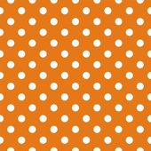Seamless vector pattern with polka dots on autumn orange background — Stock Vector