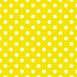 Polka dots on lemon yellow background retro seamless vector pattern - Stock Vector