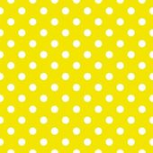 Polka dots on lemon yellow background retro seamless vector pattern — Stock Vector
