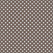 Vector pattern - white polka dots on brown background retro seamless background — Stock Vector