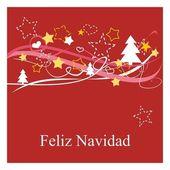 Feliz Navidad espanol vector Christmas card or invitation — Stock Vector