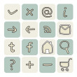 Vector set with doodle hand drawn icons — Stock Vector