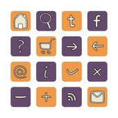 Icons or web buttons set with doodle hand drawn illustration — 图库矢量图片