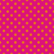 Orange dots, neon pink background pop art seamless vector pattern — Stock Vector