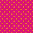 Stock Vector: Orange dots, neon pink background pop art seamless vector pattern