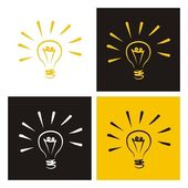 Light bulb vector icons doodle set sign of creative invention — Stock Vector