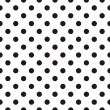 Cтоковый вектор: Black polka dots on white background retro seamless vector pattern