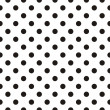 Black polka dots on white background retro seamless vector pattern — Imagen vectorial