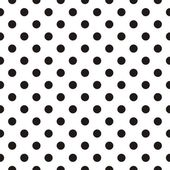 Black polka dots on white background retro seamless vector pattern — Vector de stock